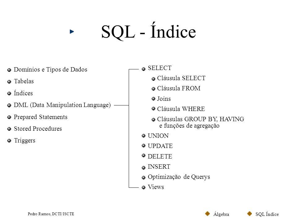 SQL ÍndiceÁlgebra Pedro Ramos, DCTI/ISCTE Linguagem SQL Norma ANSI criada em 1986 (revista em 1989 e 1992).