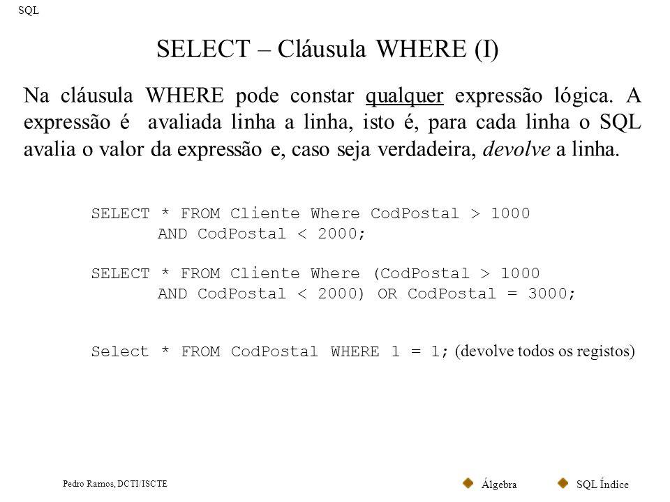 SQL ÍndiceÁlgebra Pedro Ramos, DCTI/ISCTE SELECT – Cláusula WHERE (II) SQL Os principais operadores utilizados na cláusula WHERE são: =,, >=,, AND, OR, NOT, IN, LIKE, BETWEEN e ISNULL.