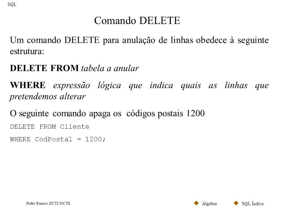 SQL ÍndiceÁlgebra Pedro Ramos, DCTI/ISCTE Comando INSERT SQL Através do comando INSERT podem-se inserir uma linha ou várias linhas em simultâneo.