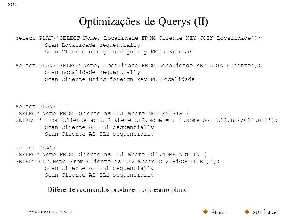 SQL ÍndiceÁlgebra Pedro Ramos, DCTI/ISCTE Views SQL As Views não são mais do que comandos SELECT armazenados.