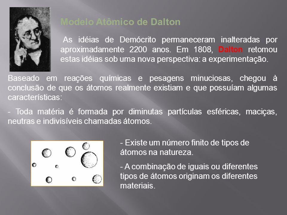 Modelo Atômico de Thomson (1898) Com a descoberta dos prótons e elétrons, Thomson propôs um modelo de átomo no qual os elétrons e os prótons, estariam uniformemente distribuídos, garantindo o equilíbrio elétrico entre as cargas positiva dos prótons e negativa dos elétrons.