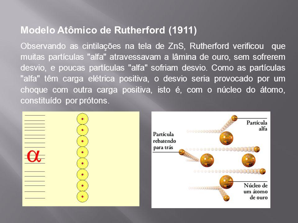 Modelo Atômico de Rutherford (1911) Assim, o átomo seria um imenso vazio, no qual o núcleo ocuparia uma pequena parte, enquanto que os elétrons o circundariam numa região negativa chamada de eletrosfera, modificando assim, o modelo atômico proposto por Thomson.