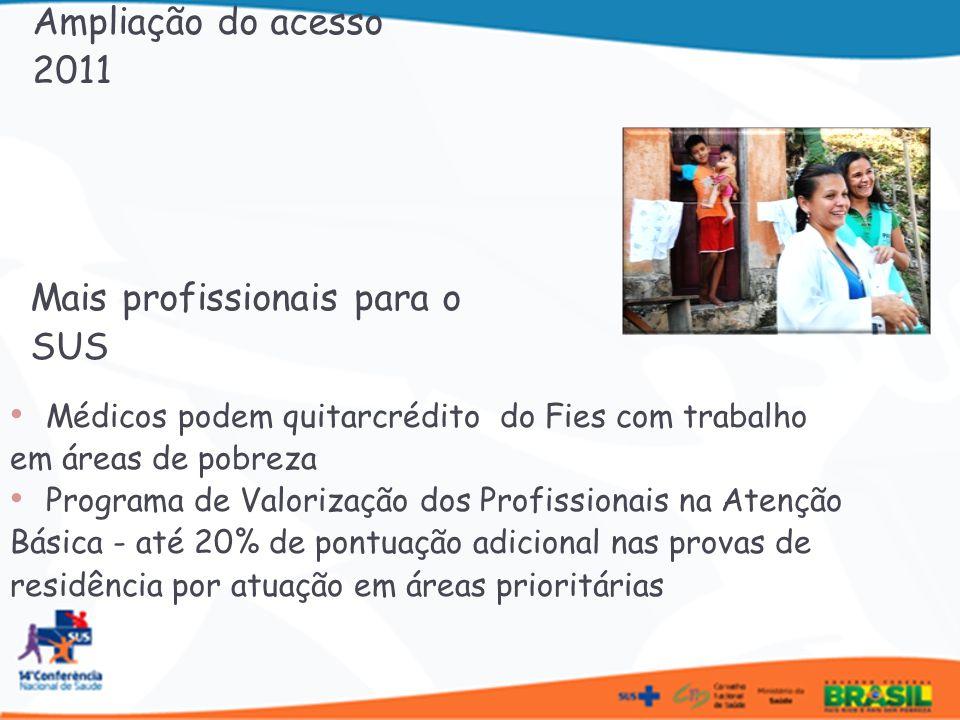Programa Saúde na Escola 2.812 municípios 84% são municípios do Brasil sem Miséria Brasil Sorridente Inclusão de ortodontia e implante dentário; alta de 70% no financiamento das próteses 664 laboratórios credenciados, com estimativa de produção de 400 mil próteses/ano Saúde Mais Perto de Você: buscar atendimento rápido e humanizado Ampliação do acesso - 2011