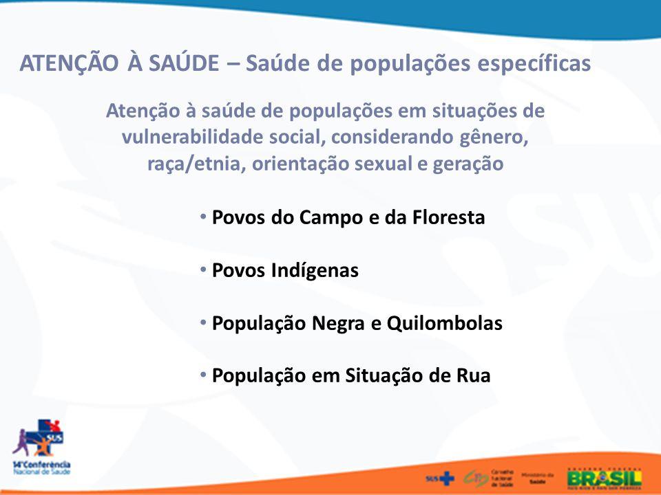 ATENÇÃO À SAÚDE – Saúde de populações e grupos específicos Ciganos LGBT Pessoas com Deficiência Portadores de Patologias Idosos