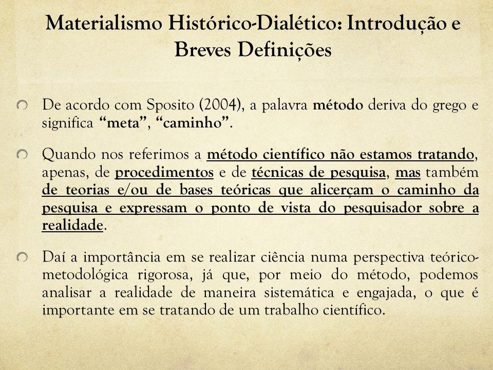 Materialismo Histórico-Dialético: Introdução e Breves Definições O método científico não deve ser tratado numa perspectiva disciplinar.