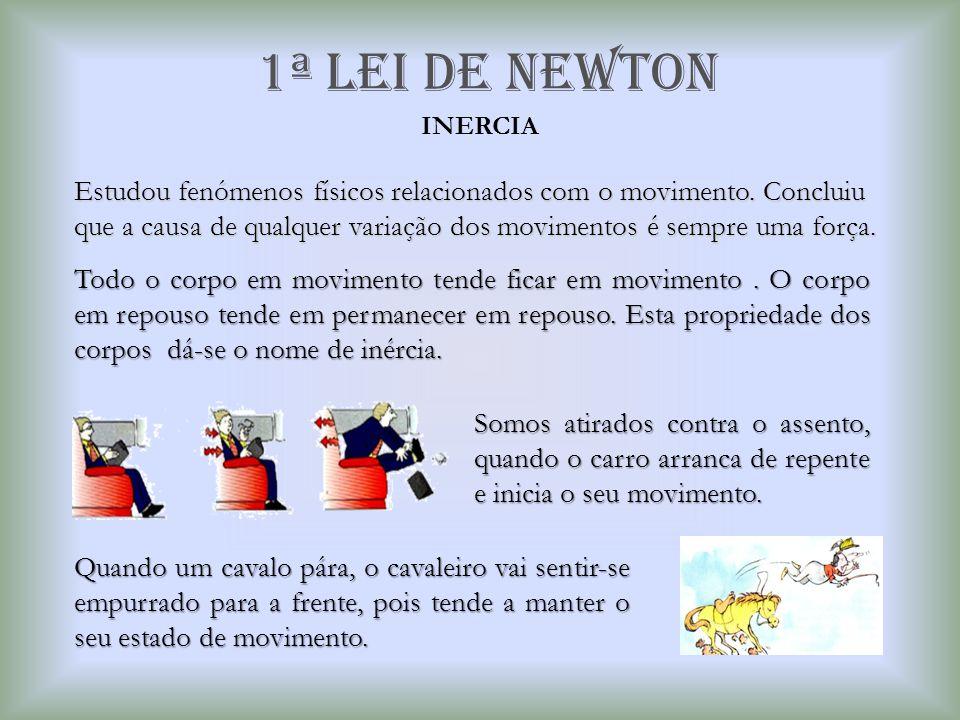 2ª Lei de newton Princípio Fundamental da Dinâmica Um corpo em repouso necessita da aplicação de uma força para que possa movimentar-se, e para que um corpo em movimento pare é necessária a aplicação de uma força.