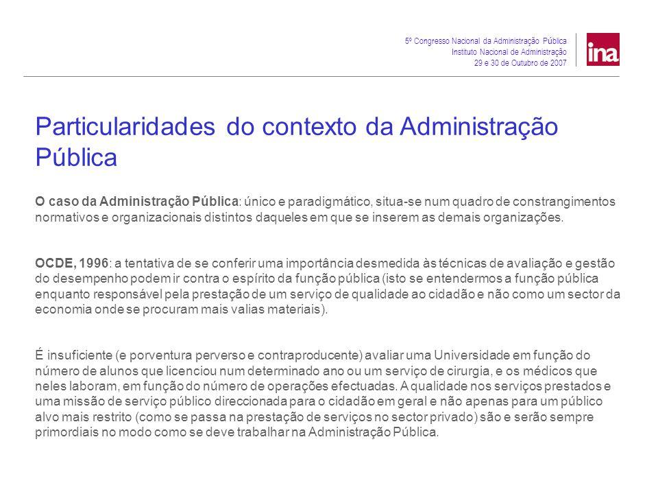 5º Congresso Nacional da Administração P ú blica Instituto Nacional de Administração 29 e 30 de Outubro de 2007 New Public Management ou Governance: que paradigma para o enquadramento da avaliação de desempenho na administração pública.