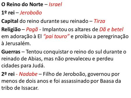 O Reino do Norte – Israel