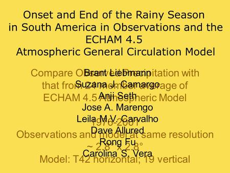Compare Observed Precipitation with that from 24 member average of ECHAM 4.5 Atmospheric Model 1976-2001 Observations and model at same resolution ~ 2.8°