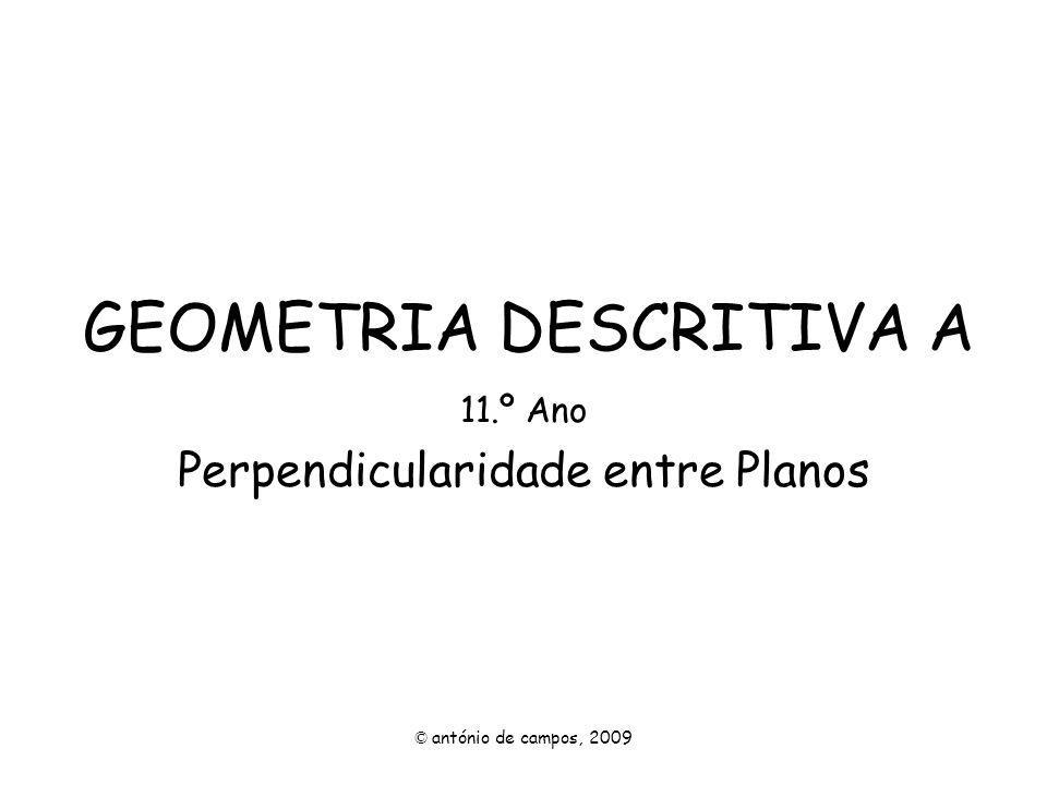 Perpendicularidade entre Planos Um plano é perpendicular a outro plano, se contiver uma recta perpendicular ao outro plano.