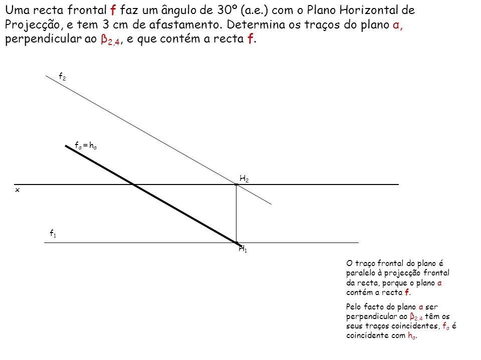Um plano α é perpendicular ao β 2,4, e o traço frontal do plano faz um ângulo de 60º (a.d.) com o eixo x.