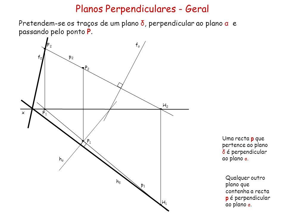 Os traços de um plano oblíquo α são concorrentes num ponto com 2 cm de abcissa e fazem com o eixo x, ângulos de 30º (a.d.) e 45 (a.e.), respectivamente o traço frontal e o traço horizontal.
