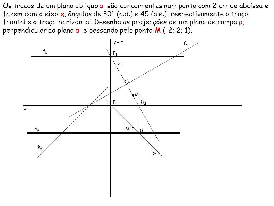 Um plano de topo δ faz um diedro de 40º (a.e.) com o Plano Horizontal de Projecção e corta o eixo x num ponto com –3 cm de abcissa.