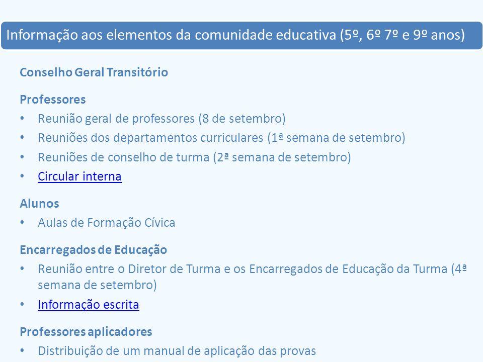 A 1ª fase de aplicação das provas (3 a 14 de outubro) 5º ano – Contexto Social, Português e Matemática 7º ano - Contexto Social, Português, Inglês, História, Matemática e Ciências Naturais 20 turmas (46 turmas) 501 alunos (1 147 alunos) 52 professores (117 profs.) 87 provas 8 dias