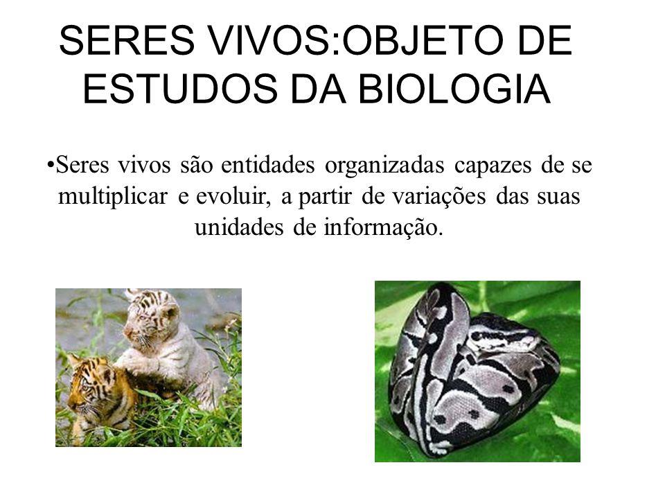 SERES VIVOS:OBJETO DE ESTUDOS DA BIOLOGIA Seres vivos são entidades organizadas capazes de se multiplicar e evoluir, a partir de variações das suas unidades de informação.