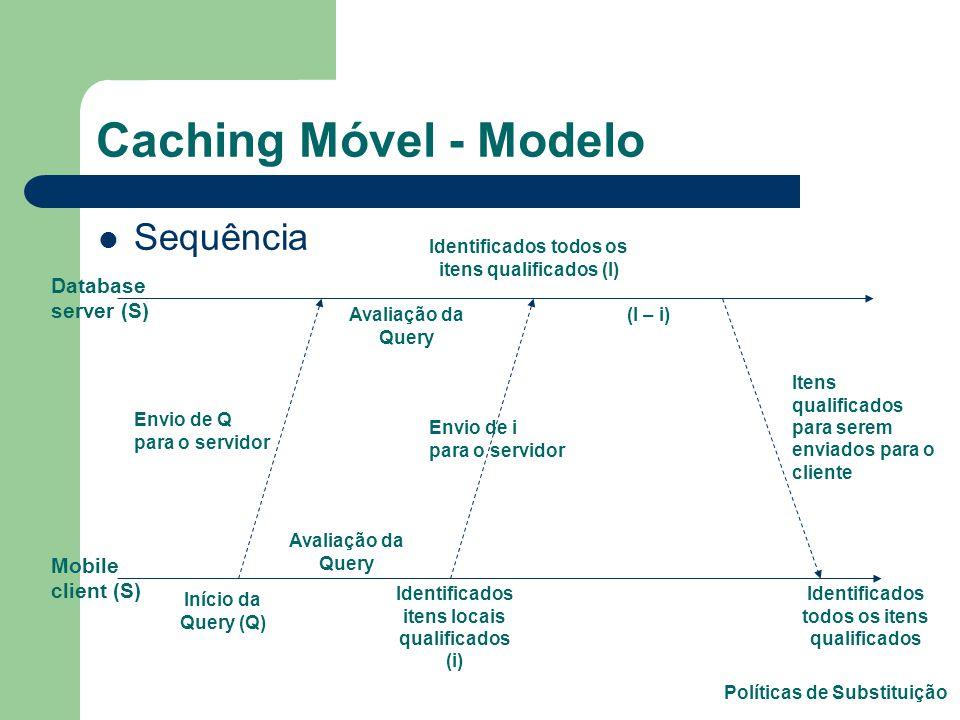 Caching Móvel - Modelo Paradigma ponto-a-ponto Banco de Dados Orientado a Objetos – Não impede que se use para Relacional