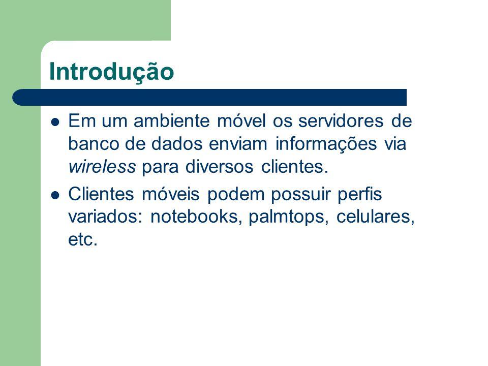 Introdução Database Server Mobile Client Rede Wireless