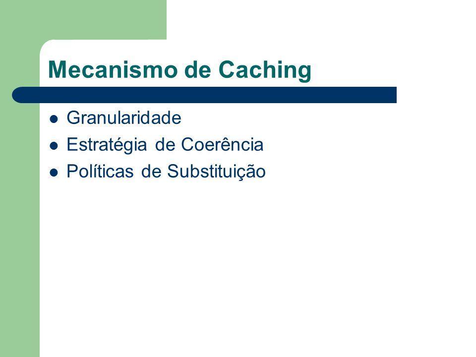 Mecanismo de Caching Granularidade: – Unidade que será armazenada no cache: Página Objeto Atributo Cache: Cliente c_a; Cliente c_c; Ex: Mobile Client