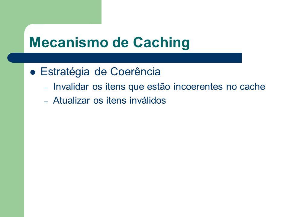 Mecanismo de Caching Estratégia de Coerência Database Server: Database: Cliente = { c1 ( João, Rua a); c2 ( Maria, Rua b); } Client A Client B Query q1