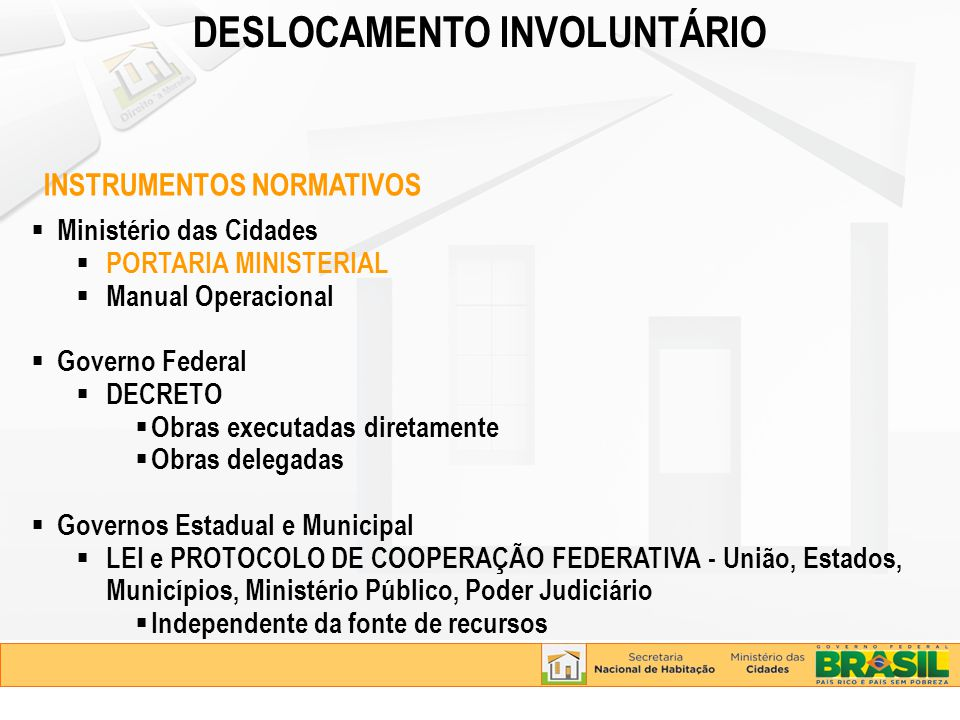 Secretaria Nacional de Habitação - SNH Provisão habitacional Urbanização de assentamentos precários Secretaria Nacional de Saneamento Ambiental - SNSA Sistemas de abastecimento de água, esgotamento sanitário, drenagem, resíduos sólidos Secretaria Nacional de Programas Urbanos - SNPU Contenção de encostas Secretaria Nacional de Mobilidade Urbana - SEMOB Pavimentação de bairros Sistemas de transporte e mobilidade Companhia Brasileira de Trens Urbanos - CBTU Metrôs ENVOLVIMENTO DE TODAS UNIDADES DO MCIDADES