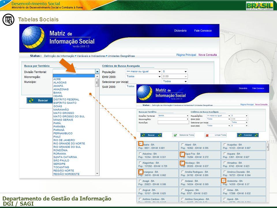 Departamento de Gestão da Informação DGI / SAGI Ferramentas da SAGI Pode-se escolher o formato HTML ou Excel.