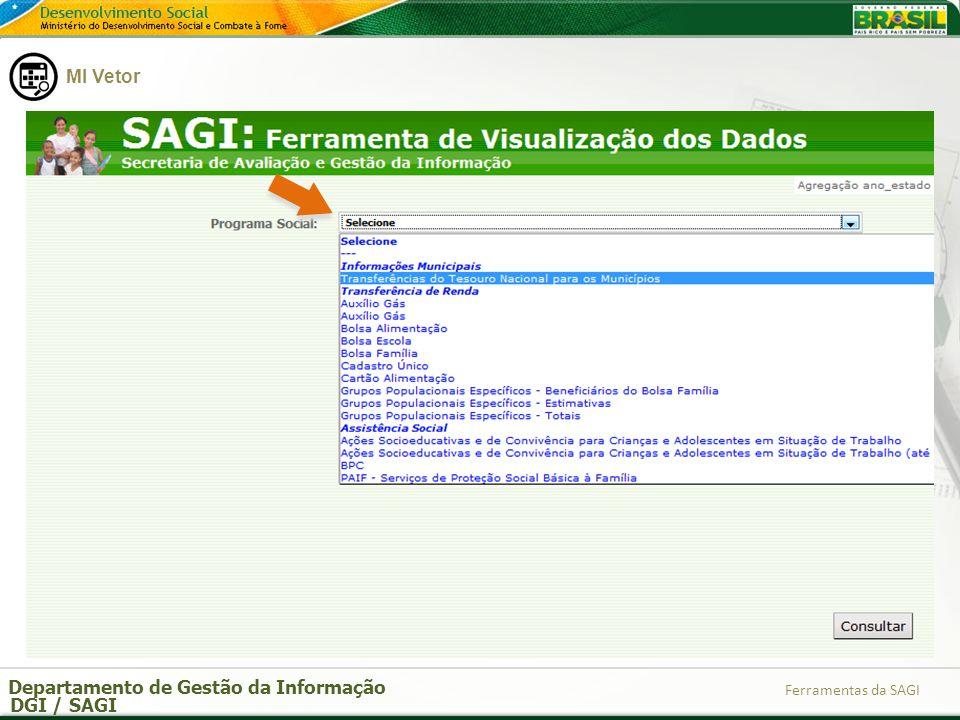 Departamento de Gestão da Informação DGI / SAGI Ferramentas da SAGI Pode-se escolher exportar para Excel.