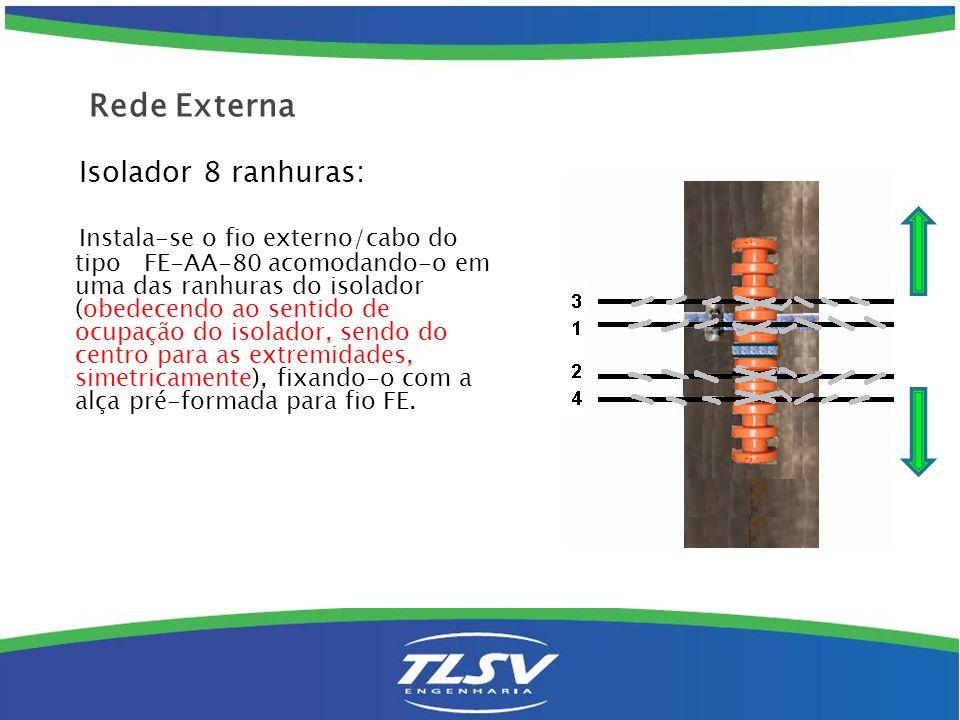 Isolador 4 ranhuras: Instala-se o fio externo/cabo do tipo FE-AA-80 acomodando-o em uma das ranhuras do isolador (de baixo para cima), fixando-o com a alça pré-formada para fio FE.