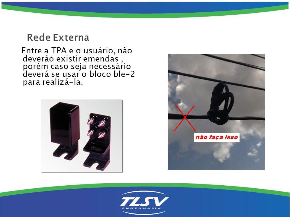 Residências com acesso por fio em tubulação subterrânea: Deve-se conectar os Fes do cliente ao fio platichumbo existente ( quando em condições ) dentro de um PTR ( BLE-2 )ou levá-los diretamente ao primeiro ponto na residência do assinante.