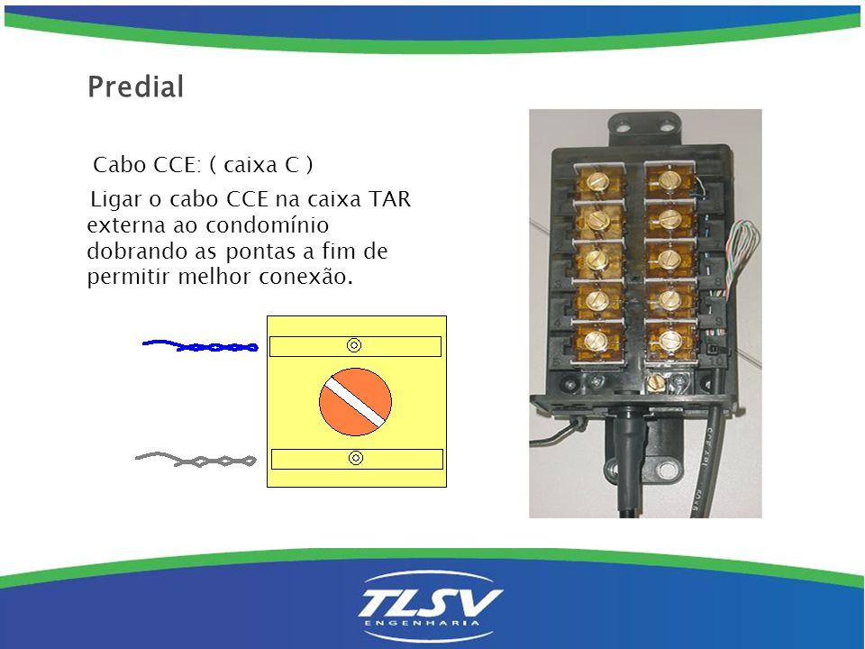 Instalação em prédios com caixa predial : ( Caixa P ) Quando a instalação for em edifício, deve-se realizar a conecção dos fios jumper no DG interno e nas caixas de passagem ( prumada lateral ).