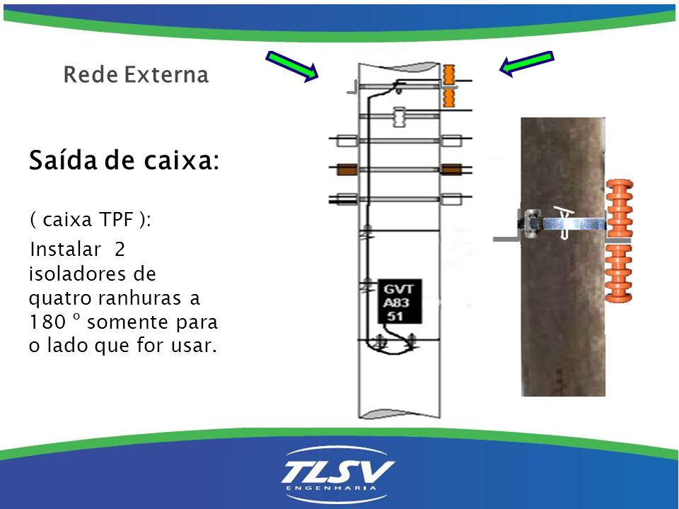 Passagem: Instala-se 1 isolador de quatro ranhuras colocados na face do poste voltada para onde passa o cabo GVT.