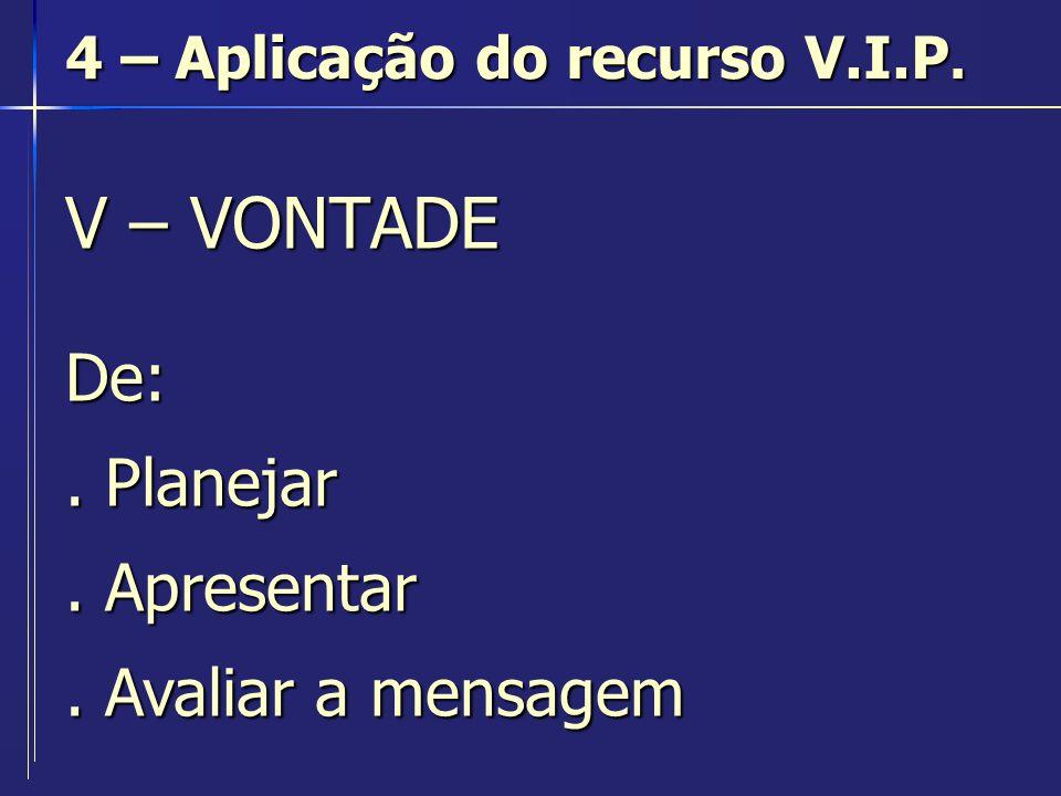 I - INFORMAÇÃO I - INFORMAÇÃO 4 – Aplicação do recurso V.I.P.