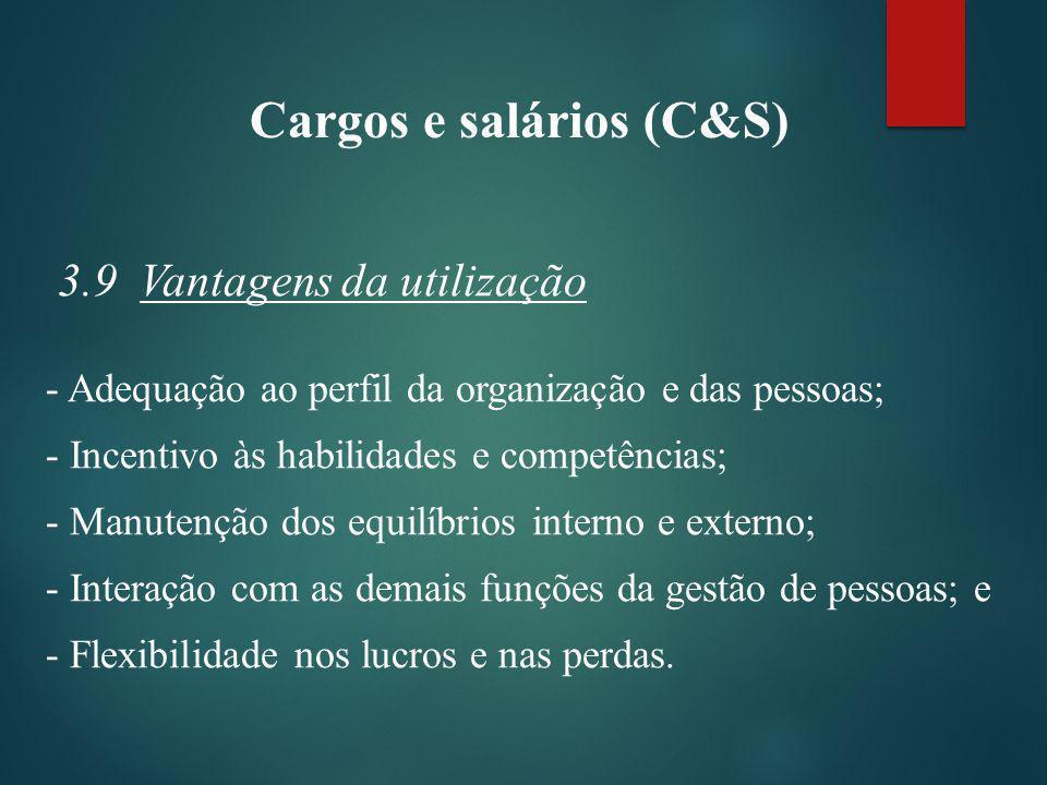 Cargos e salários (C&S) 3.10 Limitações - Ocorrência de injustiças e distorções salariais; - Deterioração do plano de cargos e salários; - Deficiência na manutenção do plano de cargos e salários; - Geração de expectativas de aumentos salariais; e - Salário como bode expiatório.