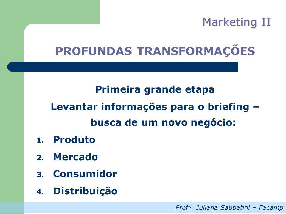 Profª.Juliana Sabbatini – Facamp Marketing II PROFUNDAS TRANSFORMAÇÕES Primeira grande etapa 5.