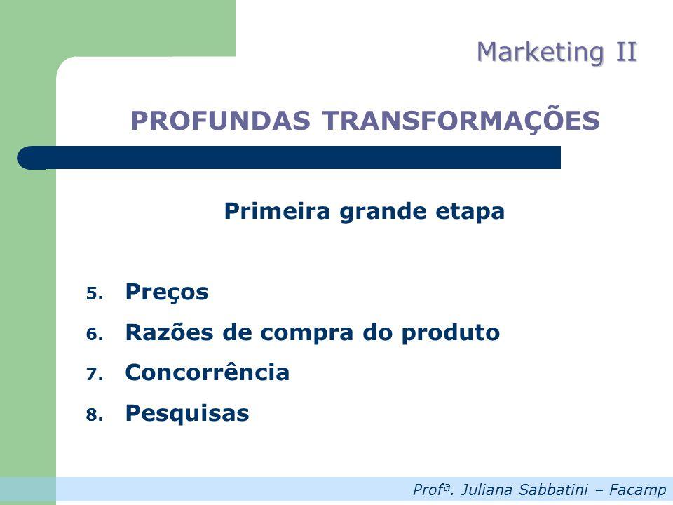Profª.Juliana Sabbatini – Facamp Marketing II PROFUNDAS TRANSFORMAÇÕES Primeira grande etapa 9.