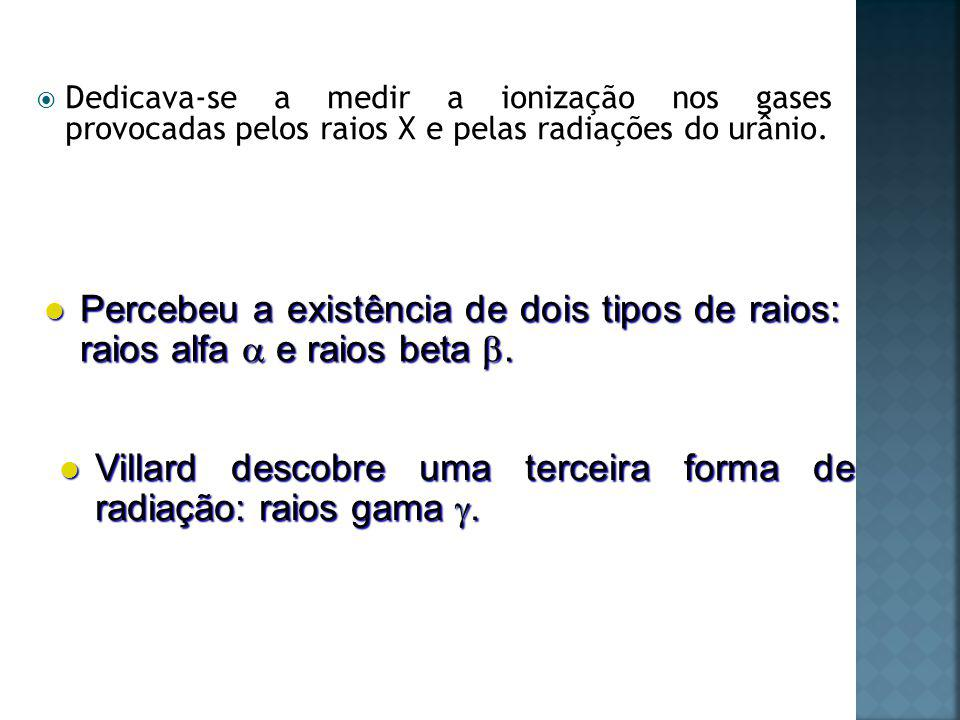 Principais diferenças entre os raios: poder de penetração e desvio.