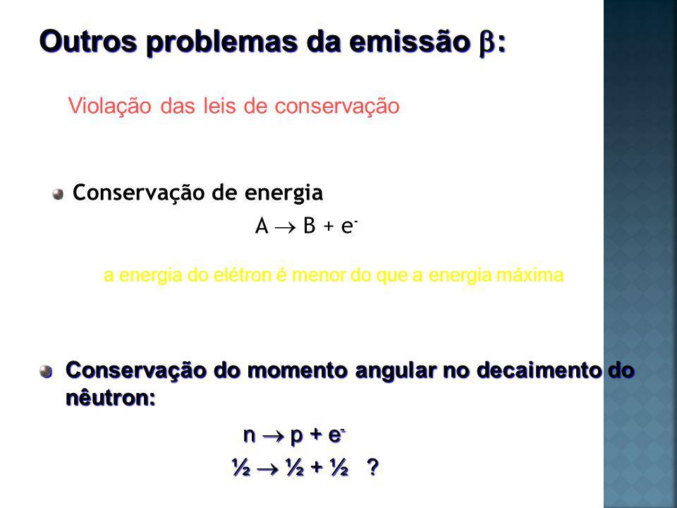 Pauli (1930): resolução do problema neutrino Spin ½ Praticamente sem massa Sem carga Proposta de uma partícula neutra de massa muito pequena Bohr (1923): o princípio da conservação de energia não é válido para fenômenos microscópicos.