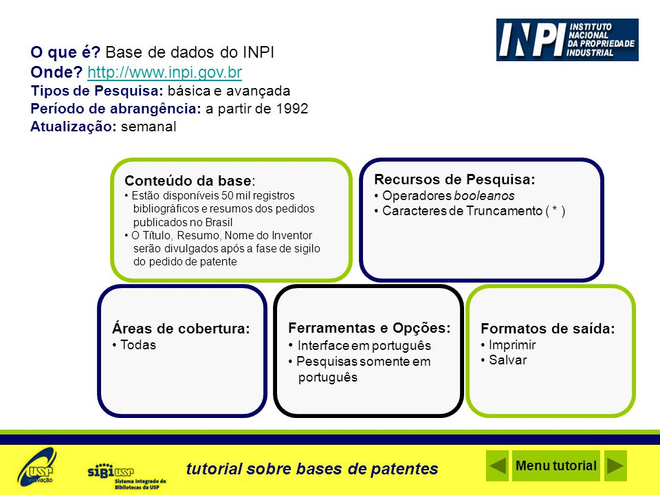 Acesse a Base de Patentes Página inicial Menu tutorial