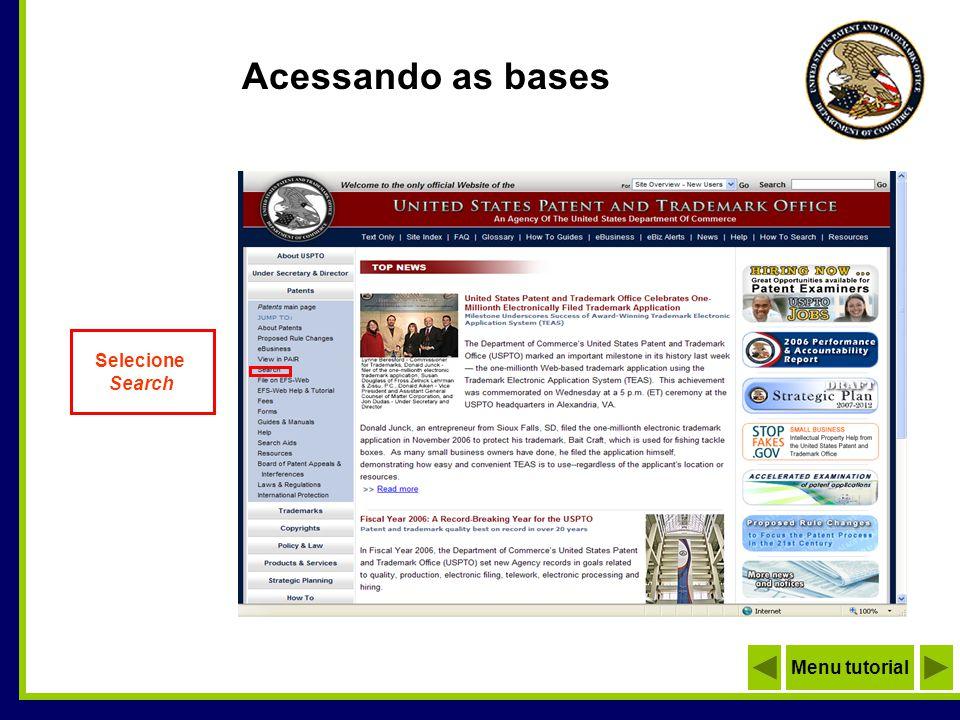 Selecionando a base Base de Patentes Concedidas Base de Pedidos de Patentes (depósitos) Menu tutorial