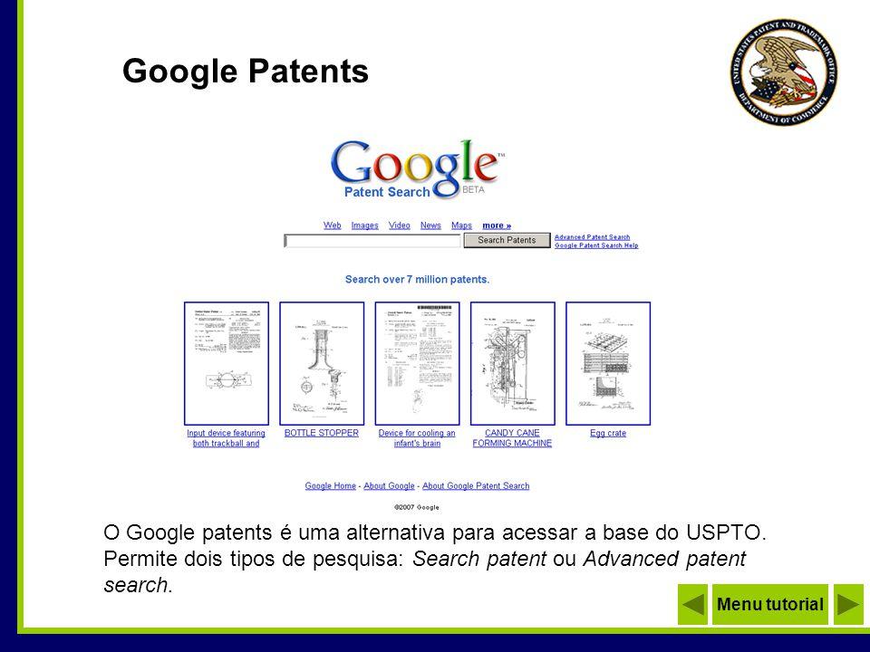 Google Advanced Patent Search Menu tutorial