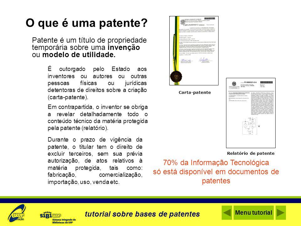 International Patent Classification - IPC O que é: Sistema de indexação de tecnologias Onde acessar: http://www.inpi.gov.br/xmlviewer/index.htmhttp://www.inpi.gov.br/xmlviewer/index.htm Atualização: A cada 2 anos (nível básico) e 3 meses (nível avançado) Acesse a Classificação Internacional tutorial sobre bases de patentes Menu tutorial