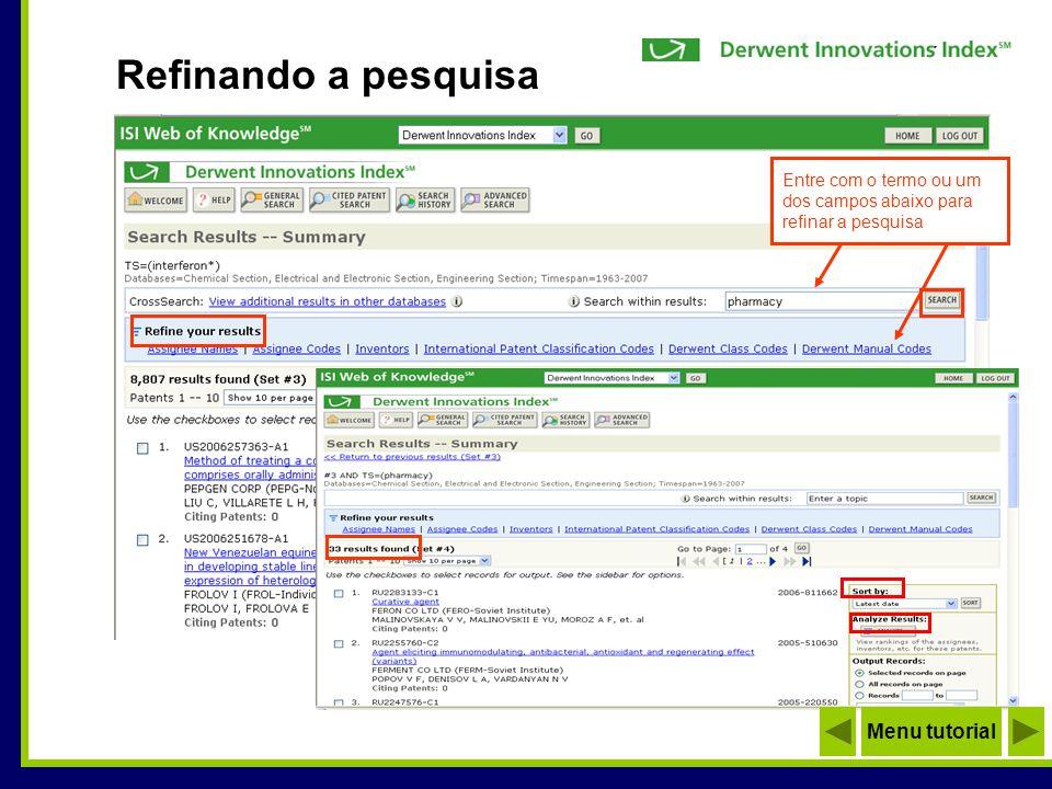 Formato opcional para visualizar resumo Número inicial de acesso pela Derwent Visualizando o registro completo Menu tutorial