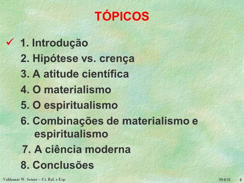 30/6/11 Valdemar W.Setzer – Ci. Rel. e Esp. 9 2. Hipótese vs.