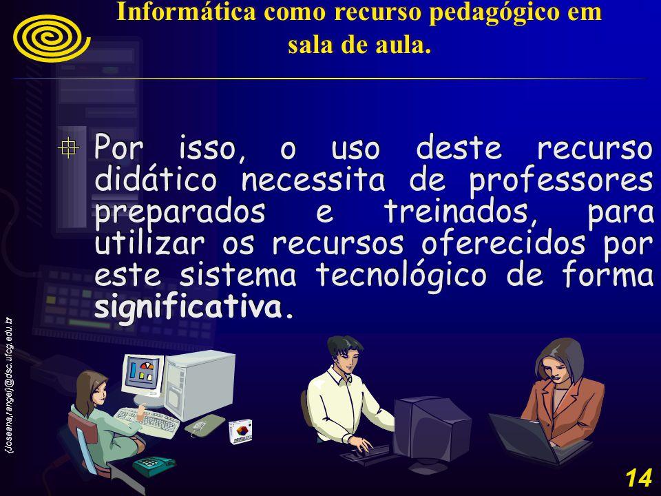 {Joseana,rangel}@dsc.ufcg.edu.br 15 O aluno não pode ser um mero digitador, mas sim, ser estimulado a produzir conhecimentos com o uso do computador.