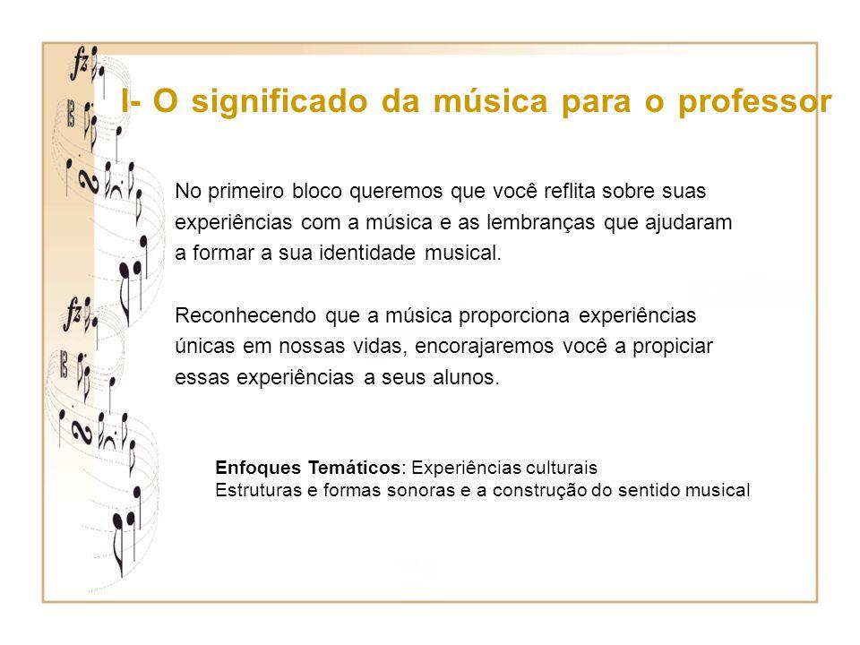 II – Música e Mídia No segundo bloco discutiremos a produção musical propiciada pelo meio cultural e os fatores que influenciam nossas preferências musicais.