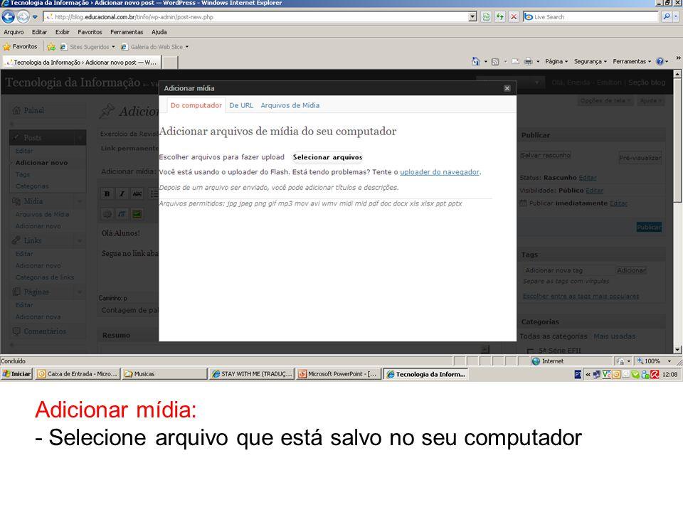 Após o uploader, deixe o cursor na URL do link e depois clique na opção URL DO ARQUIVO.