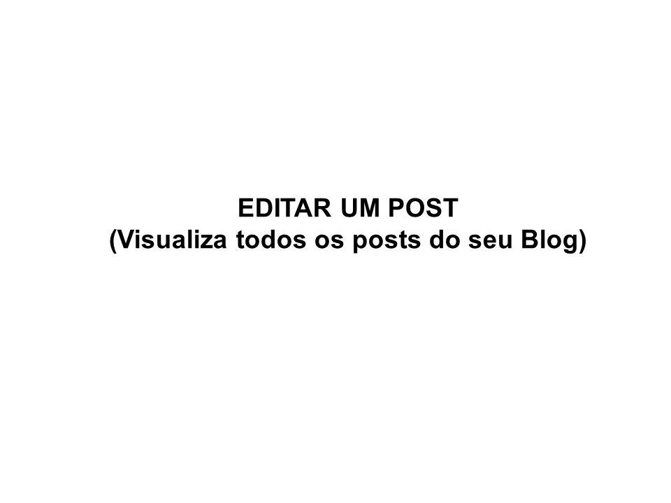 Editar posts: visualização de todos posts. Ao clicar em um post você poderá editar, excluir ou ver.