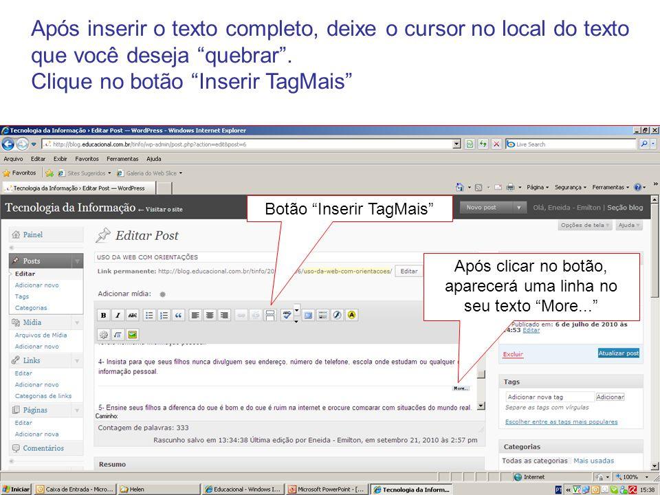 Exemplo do texto no blog após Inserir TagMais