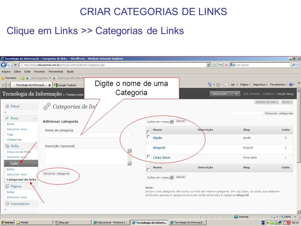 Digite um título Cole a URL do site que deseja ser visualizado Clique em Links >> Adicionar novo