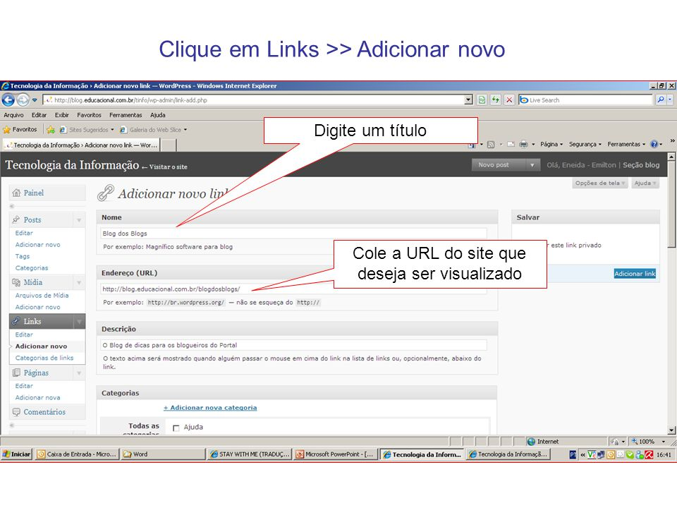 Clique na Categoria de LINKS criada