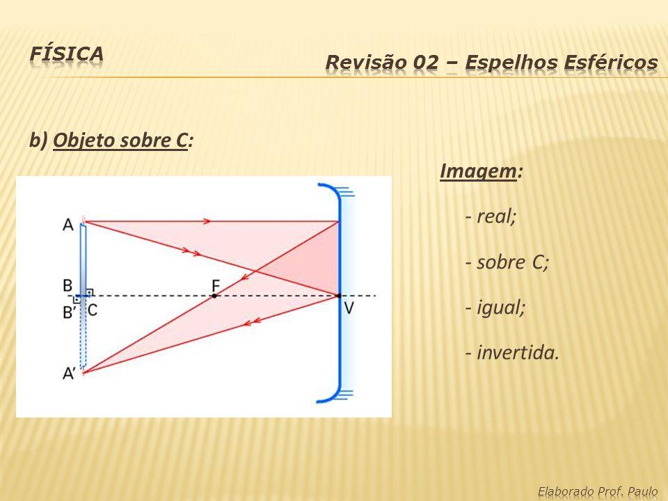 c) Objeto entre C e F: Imagem: - real; - atrás de C; - ampliada; - invertida.